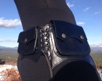Sale Black leather cypress pocket belt/ utility belt/ fanny pack/ burning man belt