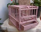 beautiful,shabby pink,antique French,wood & wire bird cage,canary/finch-all original with water jar and feeder.