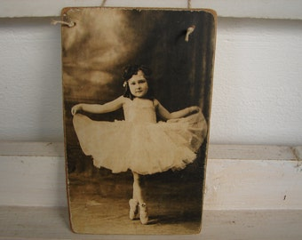 vintage style,Victorian child,ballet dancer,ballerina image-applied to wooden tag/dresser/door hanger.