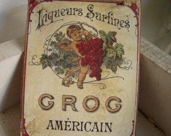 vintage advertising tag for Grog Liquer, old style hanging decoration, wooden tag.