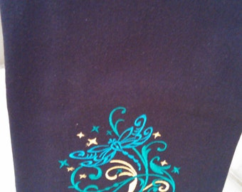 Black Butterfly Embroidered Tea Towel