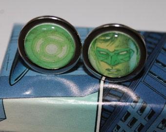 Green Lantern (Hal Jordan and Green Lantern Symbol)// Recycled comic Cufflinks// DC comic cufflinks