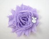 Lavender and White Easter Flower Hair Clip - Lavender Hair Clip - Lavender and White Hair Bow - Shabby Hair Clip - Bunny Hair Bow - Easter