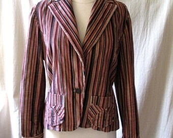 Vintage Women's Jacket, Fall Colors, Bandolino, Striped Corduroy Blazer, Women's Size 8, 1990's
