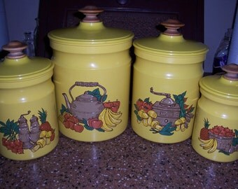 Vintage Kromex Canister Set...Yellow with Fruit...Very Nice Condition...Tin Canister...Plastic Lid...Wood Knob...1970's Retro Kitchen...