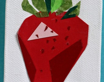 Paper collage strawberry on canvas, red, fruit, mini, small art, kitchen art, food, square, pink, berry, summer fruit