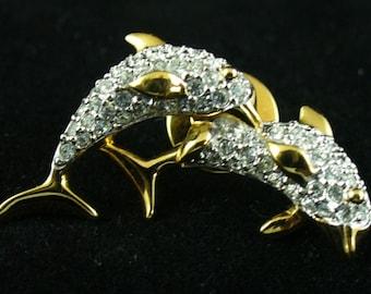 Swarovski Dolphin Pin