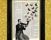 Man Blowing Pipe with Butterflies and Moths Steampunk Dictionary Page Art Print Book Page Art Print