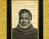 Ernest Hemingway Photo on Hemingway Book Page, Dictionary Print Style Book Page Art on a page from For Whom The Bell Tolls, Home Decor