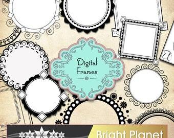 Fancy frames vector graphics digital images - INSTANT DOWNLOAD - digital clip art, digital images