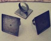 10pcs Adjustable bronze Square  Ring Blanks 25mm