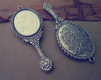 2pcs of Antique silver  mirror  Charms 31mmx73mm