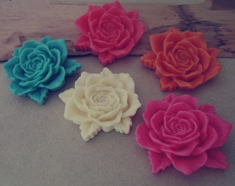 6pcs  Mixed color Resin Flowers 38mm