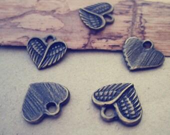 40pcs Antique bronze heart  Pendant charm 13mm