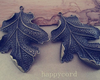 4pcs Antique bronze Leaves pendant charm 51mmx67mm