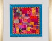 SUNSET SERENADE: Fine Art Framed Art Quilt in Fuschia Orange Purple Turquoise
