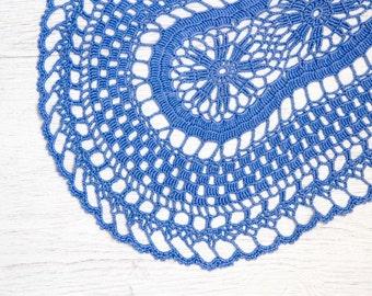 Lavender Crochet oval Doily hand dyed vintage Doily