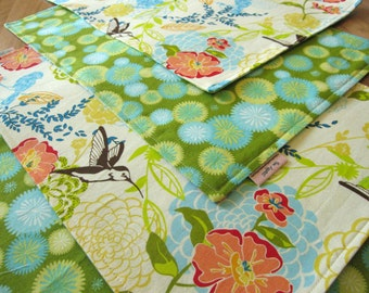 Reversible Hummingbird and Flower Cloth Placemats, Set of 4, 6 or 8