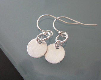 Contemporary Sterling Silver Disc Earrings - Simple - Chic - Elegant