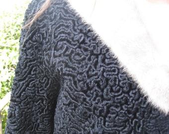 Beautifully made Astrakhan jacket with fur collar - Sz M