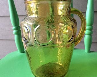 Vintage Amber Glass Thumbprint Pitcher