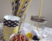 Black & Yellow Chevron Small Baking Cups or Straw Assortment