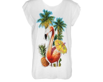 Tropical  white tshirt with flamingo, pineapple, ananas, cocktail and palm tree scoop neck and cropped hems (laser cut)