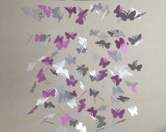 Butterfly baby mobile -Orchid, gray and white colors