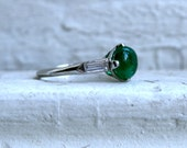 RESERVED - Beautiful Vintage Platinum Diamond and Cabochon Emerald Ring - 1.24ct.