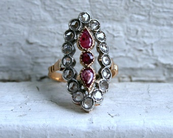 Antique 18K Rose Gold/ Platinum Diamond and Ruby Navette Ring - 2.60ct.
