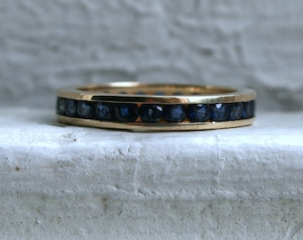 Vintage 14K Yellow Gold Sapphire Eternity Wedding Band - 1.56ct.