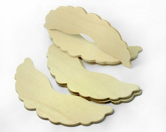 Set of 5, 4 Inch Wood Angel Wing Cut Out Shapes, Ruffled Wood Wings