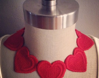 Red Embroidered Heart Necklace