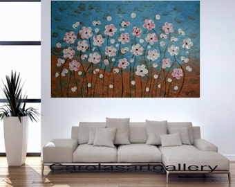 "SALE Original Abstract Painting Acrylic Painting  -White Flowers- Handmade by Carola, 36"" x 24"""