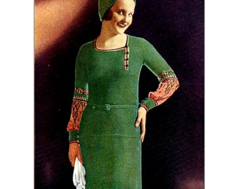 1930s 2 Piece Dress with Sleeve Interest,  Flared Skirt  -  Knit pattern PDF 2610