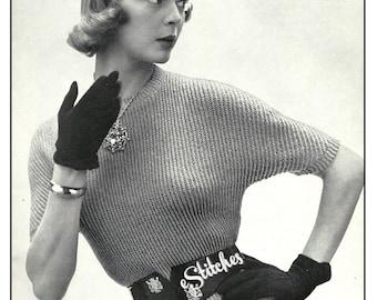 1950s Sweater, Short Dolman Sleeves - Crochet pattern PDF 5019