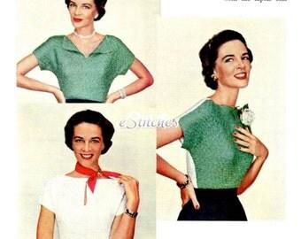 1950s Blouse Reversible Keyhole Neckline, Contrasting Colors - Knit PDF pattern 2426