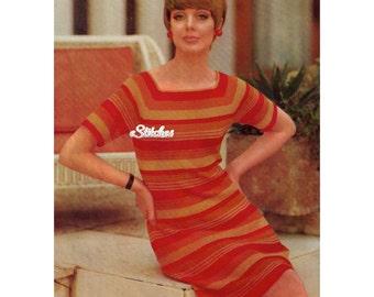 1960s Sheath Dress with Stripes and Square Neckline - Knit pattern PDF 1767