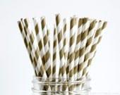 25 Metallic Bronze Gold Stripe Paper Straws - Garden Partys, Wedding, Birthday, Baby Shower, Celebrations