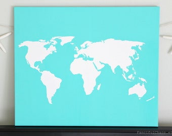 World DIY Customize Map -20X24 Canvas Acrylic Painting, Wall Art, Decor Turquoise