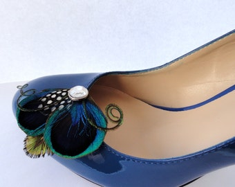 Mini Shoe Clip Collection - Blue, Green, and Polka Dot Peacock Feather Shoe Clips with Crystal