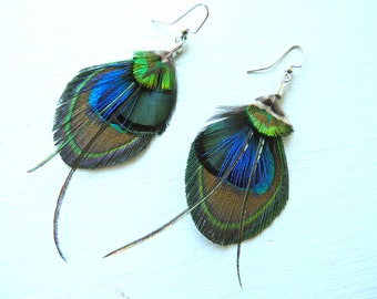 ARIZONA Mini Peacock Feather Boho and Green Feather Earrings