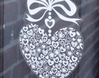 Bow Heart Window decal clings Decoration for Valentine's