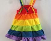 Tropical Rainbow Ruffled Sun Dress