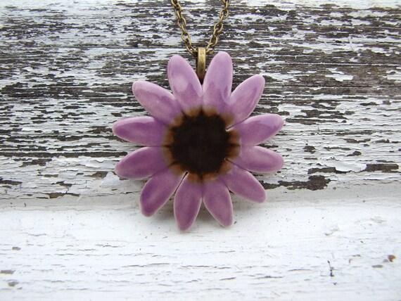 Purple daisy pendant mauve petals bronze centre
