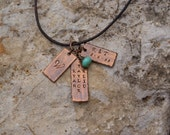 Personalized copper necklace with vintage glass bead and leather cord