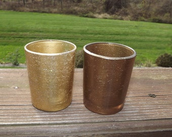 Gold Glitter Glass Votive Candle Holders for Weddings and Parties, Glitter  12 in order