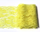 3 Y of Yellow  Lace Trim Ribbon  2.2 ''