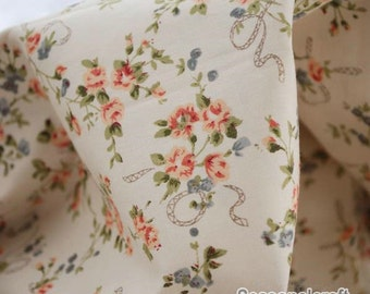 Rose Cotton Fabric Ribbon with Rose, Light Beige Cream Background Shabby Chic Fabric Quilting Cotton 1/2 yard QT350