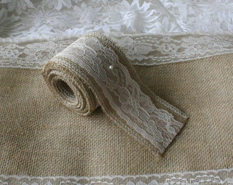 Burlap and lace ribbon, burlap ribbon